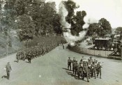 The Regiment marching to Troy Station, Monmouth, 1914. This is probably No1 Company, who were leaving to work on the defences of Cork harbour.