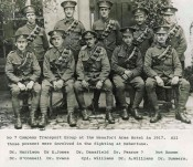 Photograph of 10 members of No.7 Company Transport Group at the Beaufort Arms, 1917. All were drivers (Dr.)