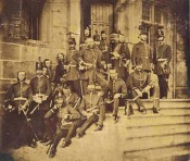 Officers on the steps of Great Castle House, 1860
