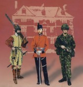 Picture of a seventeenth century militiaman, a nineteenth century officer, and a twentieth century sapper
